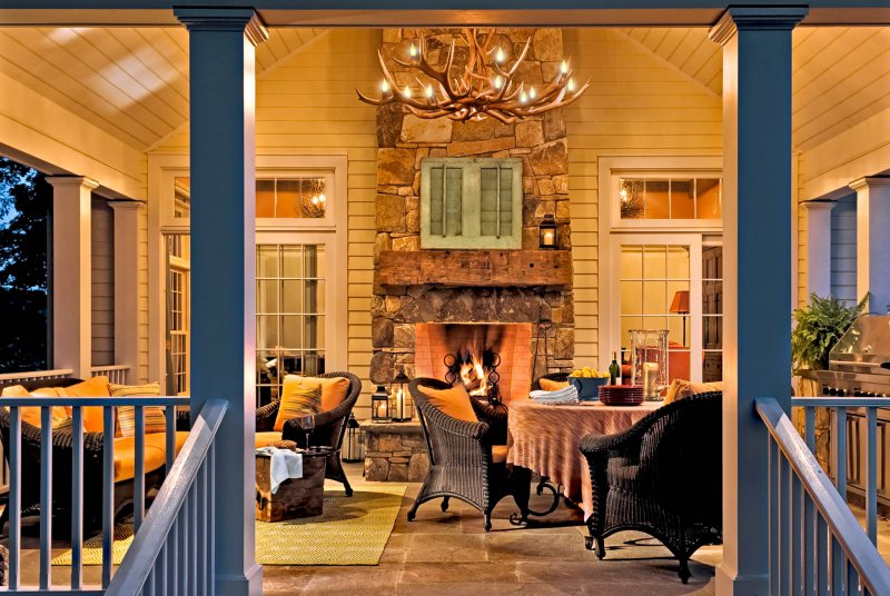 porch with antler chandelier