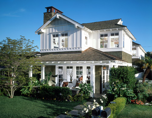 Classic white house with white trim