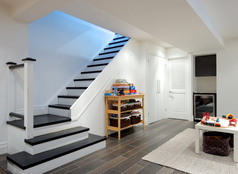 contemporary basement staircase