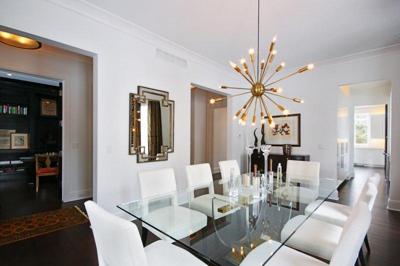 Sputnik Chandelier Over Dining Room Table