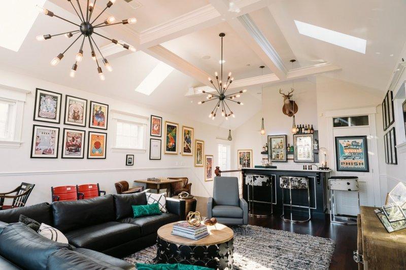 family room sputnik chandelier