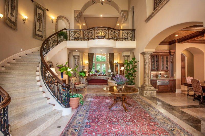 foyer staircase iron railing