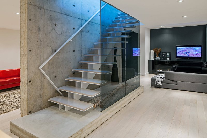 glass basement staircase