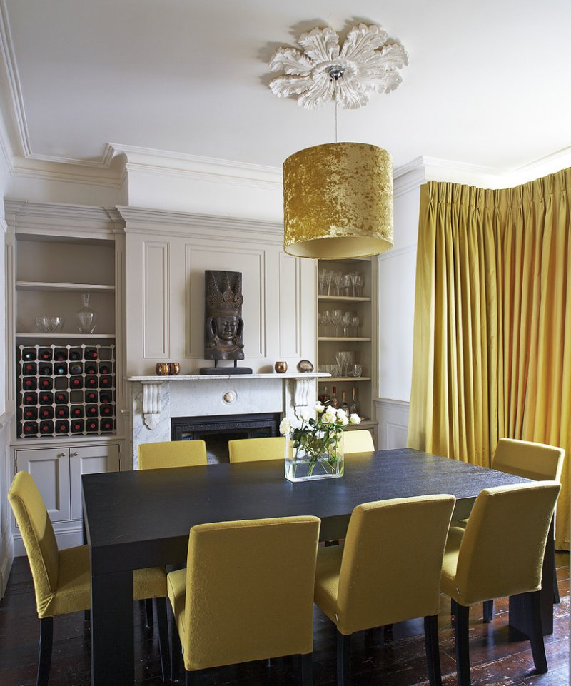 gold dining room with ceiling medallion