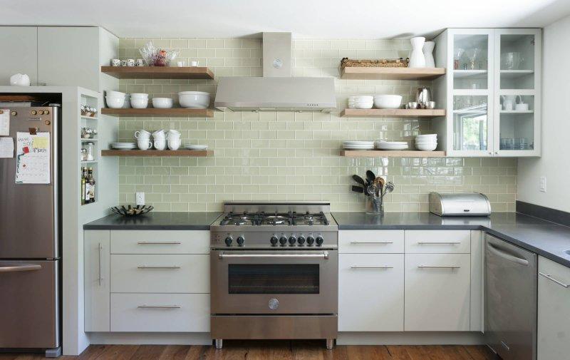 kitchen open shelves tile backsplash