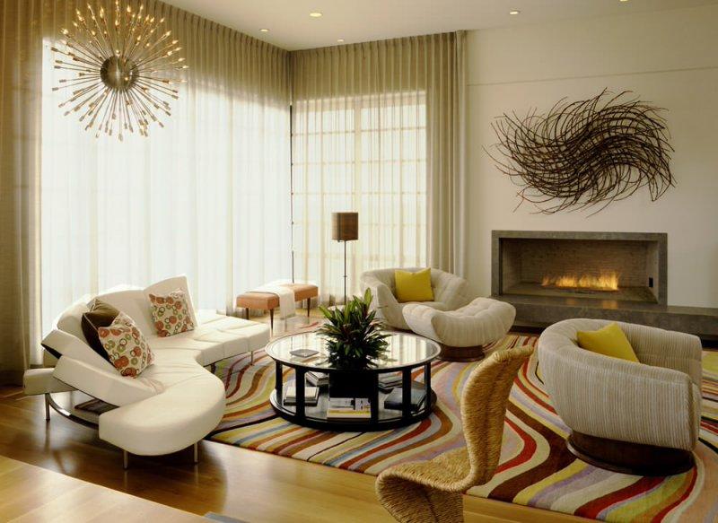 living room with sputnik chandelier