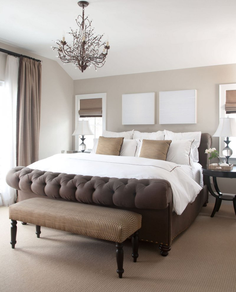 master bedroom with tuft bed