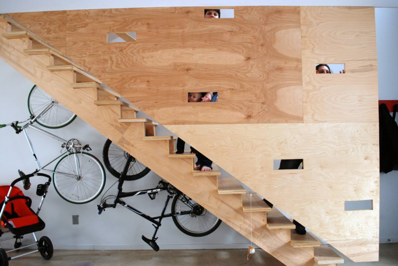 plywood basement stairs