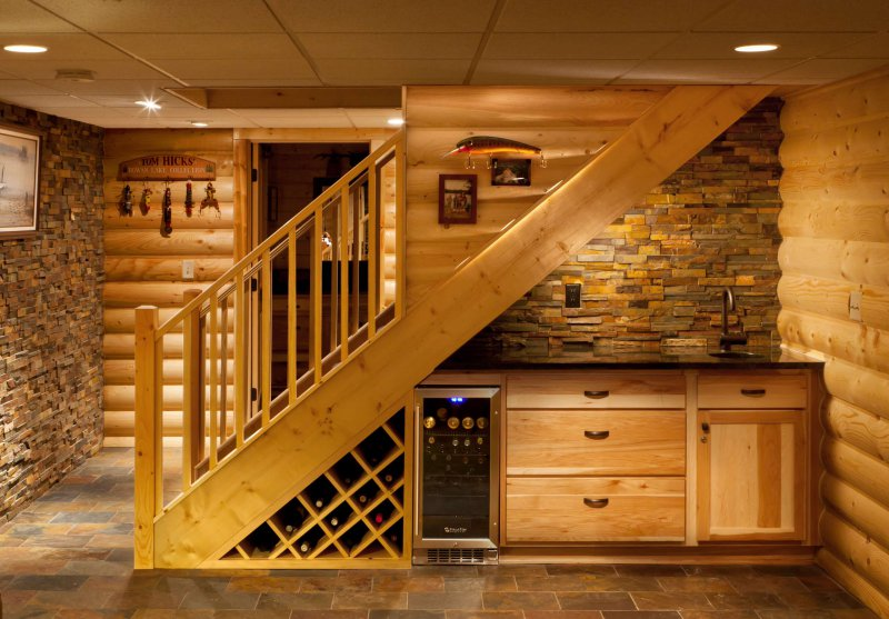 rustic basement stairs