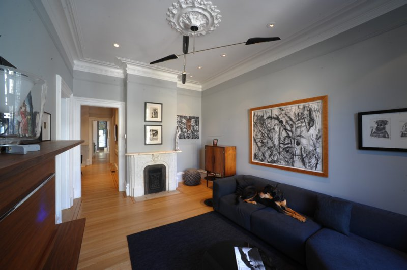 san fran living room with ceiling medallion