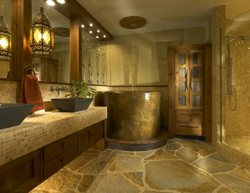 spa style bathroom soaking tub