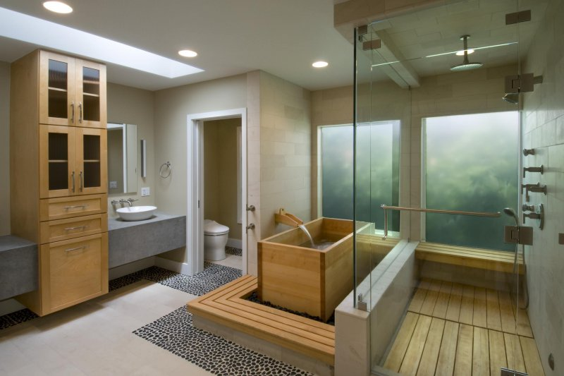 square wood soaking tub