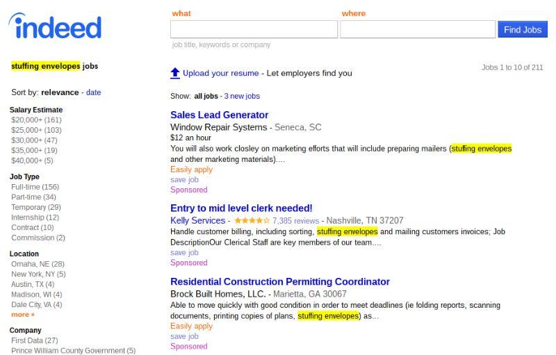 stuffing envelopes jobs screenshot