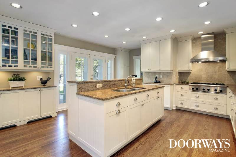 white kitchen hardwood flooring